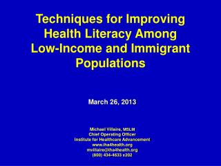 Techniques for Improving Health Literacy Among  Low-Income and Immigrant Populations