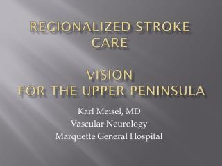 Regionalized Stroke Care Vision  for the Upper Peninsula