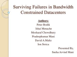 Surviving Failures in Bandwidth Constrained Datacenters