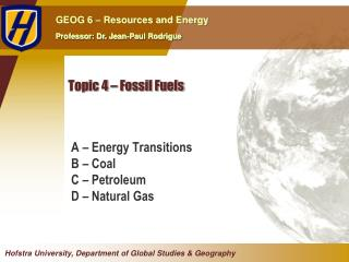 Topic  4  –  Fossil Fuels