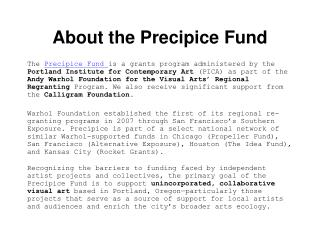 About the Precipice Fund