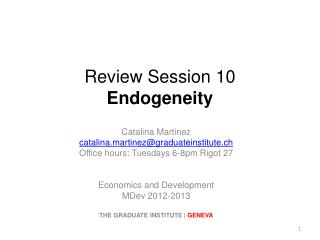 Review  Session  10 Endogeneity