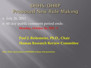 DHHS/OHRP Proposed New Rule Making