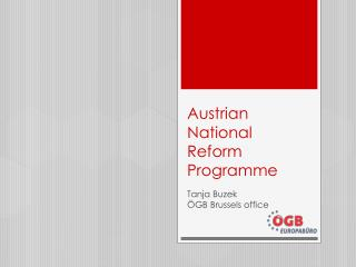 Austrian National Reform Programme