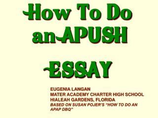 How To Do an  APUSH ESSAY