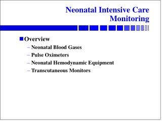 Neonatal Intensive Care Monitoring