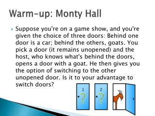 Warm-up: Monty Hall