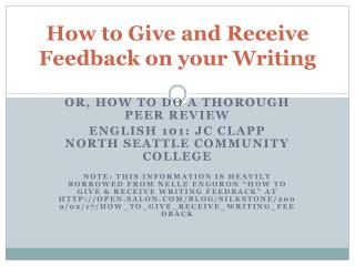 How to Give and Receive Feedback on your Writing