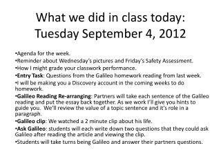 What we did in class today: Tuesday September 4, 2012