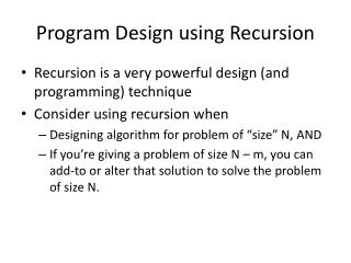 Program Design using Recursion