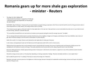 Romania gears up for more shale gas exploration - minister - Reuters