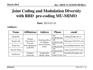 Joint Coding and Modulation Diversity with RBD   pre-coding MU-MIMO