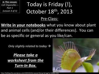 Today is  Friday (!), October 18 th , 2013
