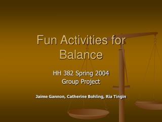 Fun Activities for Balance