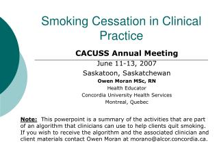 Smoking Cessation in Clinical Practice