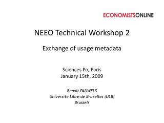 NEEO Technical Workshop  2 Exchange of usage  metadata