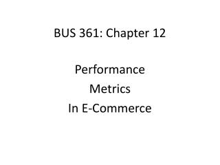 BUS 361: Chapter 12