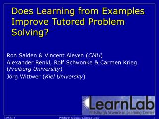 Does Learning from Examples Improve Tutored Problem Solving?