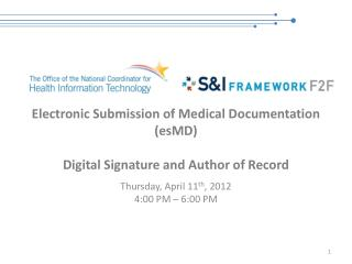Electronic Submission of Medical Documentation (esMD) Digital Signature and Author of Record