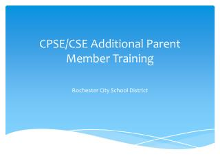 CPSE/CSE Additional Parent Member Training