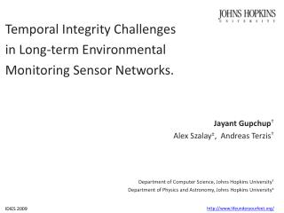 Temporal Integrity Challenges  in Long-term Environmental  Monitoring Sensor Networks.