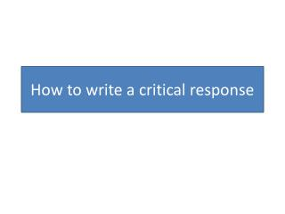 How to write a critical response