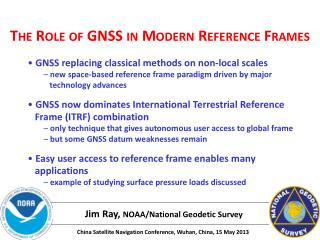 The Role of GNSS in Modern Reference Frames