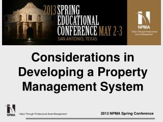 Considerations in Developing a Property Management System
