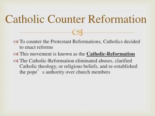 Catholic Counter  Reformation