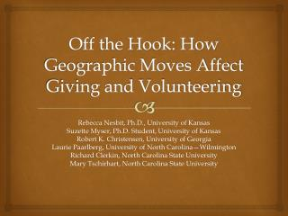 Off the Hook: How Geographic Moves Affect Giving and Volunteering