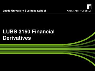 LUBS 3160 Financial Derivatives