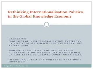Rethinking Internationalisation Policies in the Global Knowledge Economy