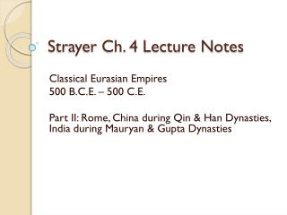Strayer Ch. 4 Lecture Notes