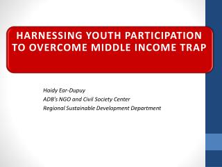 Harnessing youth participation to overcome middle income trap