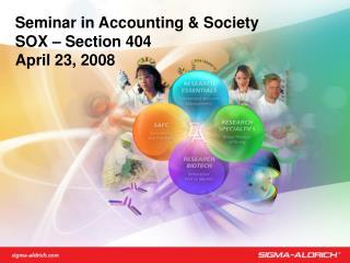 Seminar in Accounting & Society SOX – Section 404 April 23, 2008