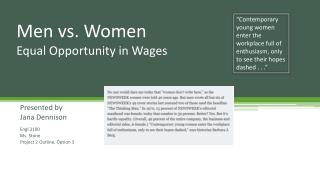Men vs. Women Equal Opportunity in Wages
