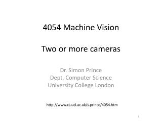 4054 Machine Vision Two or more cameras