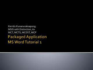 Packaged Application MS Word  Tutorial  1