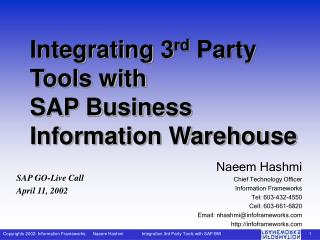 Integrating 3 rd  Party Tools with SAP Business Information Warehouse