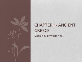 Chapter 4- Ancient Greece