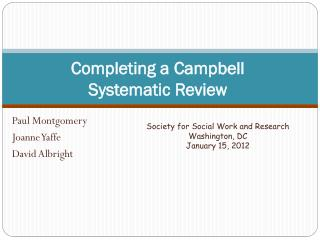 Completing a Campbell Systematic Review