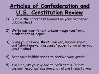 Articles of Confederation and U.S. Constitution Review
