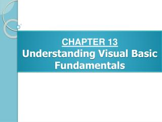 CHAPTER 13 Understanding Visual Basic Fundamentals