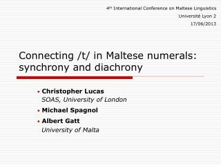 Connecting /t/ in Maltese numerals: synchrony and  diachrony