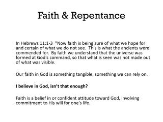 Faith & Repentance