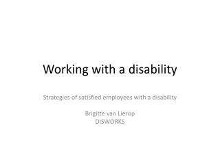 Working with a disability