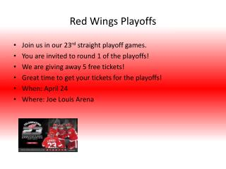 Red Wings Playoffs