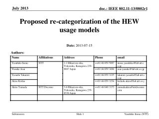Proposed re-categorization of the HEW usage models