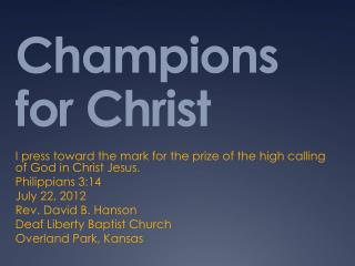 Champions  for Christ