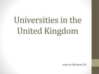 Universities in the United Kingdom
